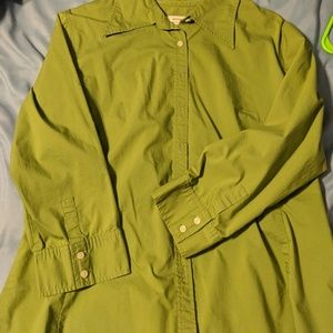 Green button up fitted blouse